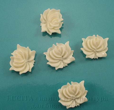 "Кабошон акриловый ""Дикая роза"", цвет - белый, 12х10 мм, 5 штук"