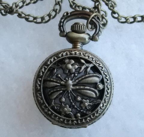 """Часы на цепочке """"Стрекоза"""" (цвет - античная бронза) 40х27Х13 мм"""