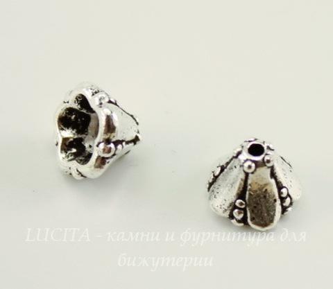 """Шапочка - конус для бусины маленькая TierraCast """"Колокольчик"""" 8х5 мм (цвет-античное серебро)"""