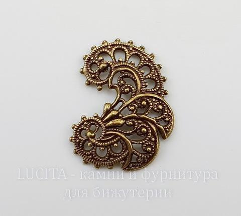 Винтажный декоративный элемент - Пара филиграней 26х19 мм (оксид латуни)