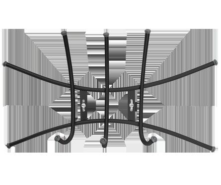 Вешалка настенная на  3 крючка ВНП1 (цвет черный), Ника, г. Ижевск