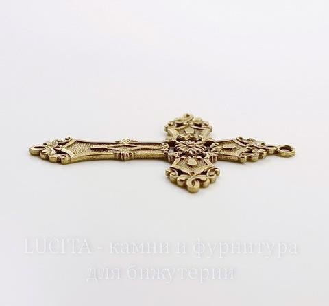 """Винтажный декоративный элемент - подвеска """"Готический крест"""" 59х38 мм (оксид латуни)"""