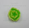 Кабошон акриловый зеленый двухцветный цветок, 13х6 мм