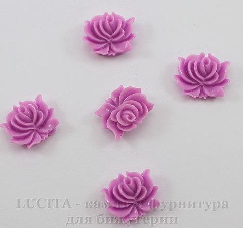 """Кабошон акриловый """"Дикая роза"""", цвет - синеренвый, 12х10 мм, 5 штук"""
