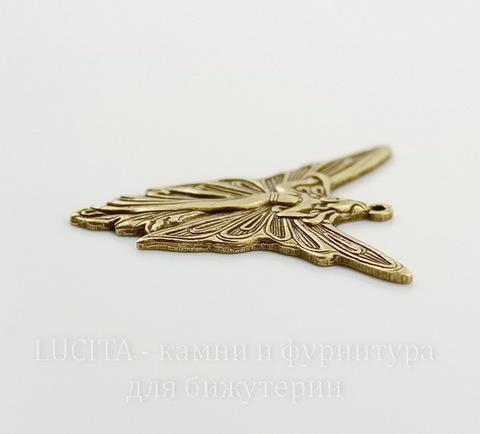 """Винтажный декоративный элемент - подвеска """"Королева фей"""" 30х30 мм (оксид латуни)"""