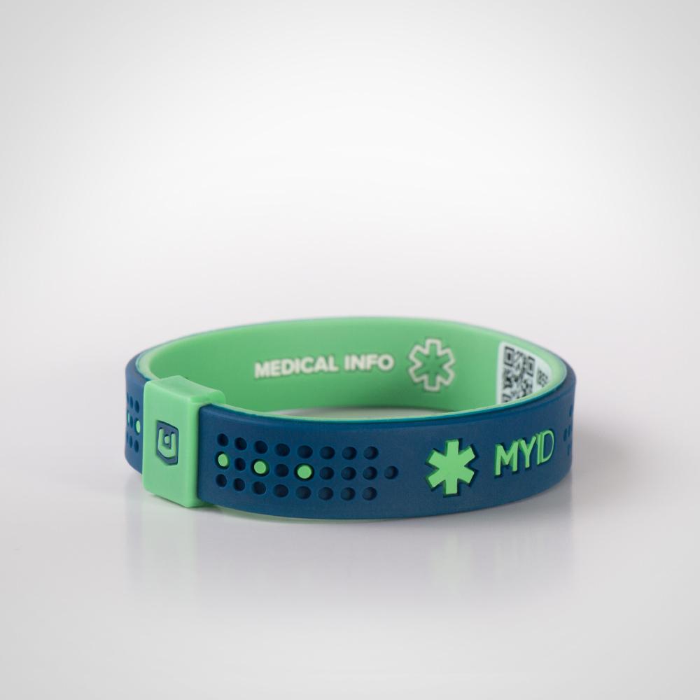 Информационный энергетический браслет My ID Sport синий/зеленый