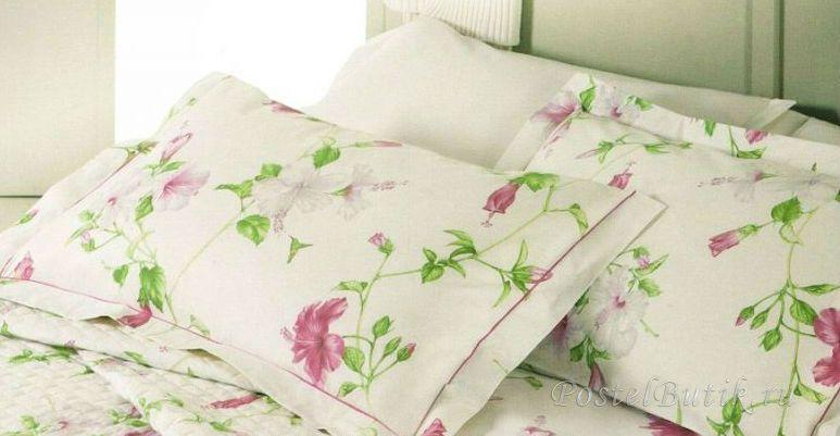 Постельное белье 1.5 спальное Mirabello Hibiscus кремовое с розовыми цветами