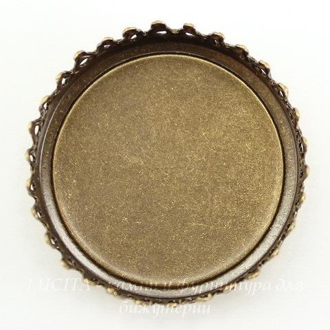 Сеттинг - основа с зубчатым краем для камеи или кабошона 25 мм (оксид латуни) ()