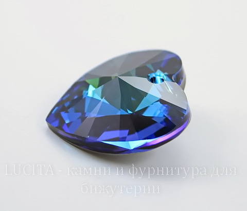 6228 Подвеска Сваровски Сердечко Crystal Bermuda Blue (28 мм)