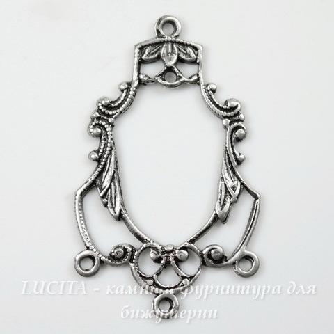 Винтажный декоративный элемент - коннектор (1-3) 27х17 мм (оксид серебра)