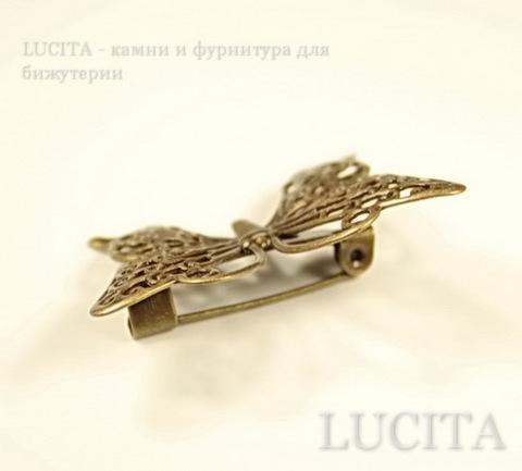 "Основа для броши филигранная ""Бабочка"" (цвет - античная бронза) 36х26 мм ()"