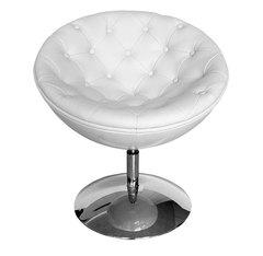 кресло с поворотным механизмом  02-81 белое + белое  ( by Simple Chair  )