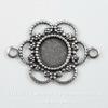 """Сеттинг - основа - коннектор """"Ажурный"""" (1-1) для камеи или кабошона 5 мм (оксид серебра)"""