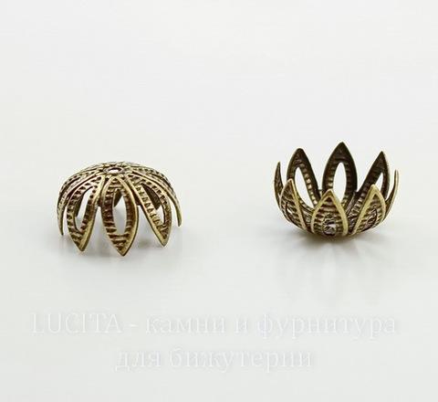 Винтажный декоративный элемент - шапочка ажурная 11х6 мм (оксид латуни)