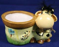 Керамическое зоокашпо корова 041065-4р