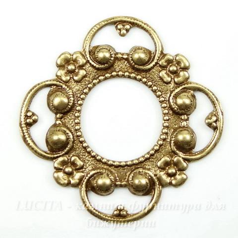 Винтажный декоративный элемент - рамка 28х28 мм (оксид латуни)