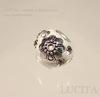 """Бусина """"Индонезийская"""" ручной работы белая со стразами с серебром, 14х13 мм ()"""