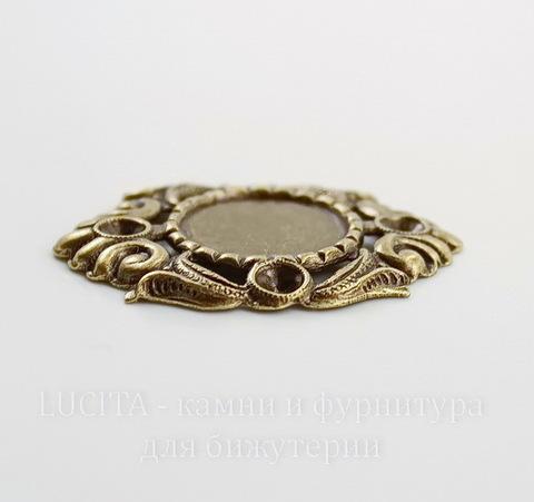 "Сеттинг - основа ""Флора"" для камеи или кабошона 15 мм (оксид латуни)"