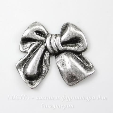 "Винтажный декоративный элемент - штамп ""Бантик"" 14х12 мм (оксид серебра)"
