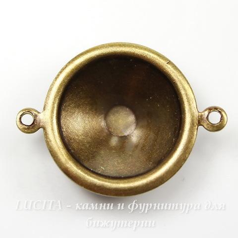 Сеттинг - основа - коннектор (1-1) для страза 12 мм (оксид латуни)
