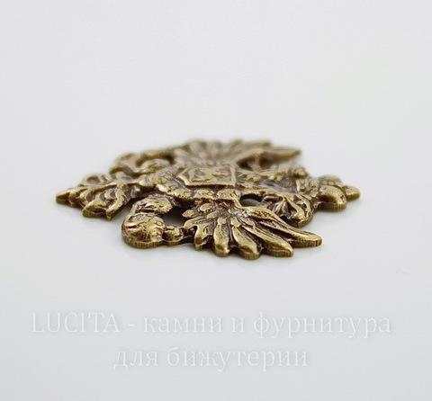 """Винтажный декоративный элемент - штамп """"Двуглавый орел"""" 25х22 мм (оксид латуни)"""