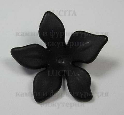 Акриловый цветочек черный 28х6,5 мм ()