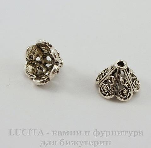 Шапочка для бусины (цвет - античное серебро) 11х8 мм, 10 штук