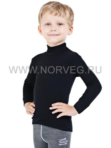 Термобелье рубашка Norveg Soft City Style детская с длинным рукавом чёрная
