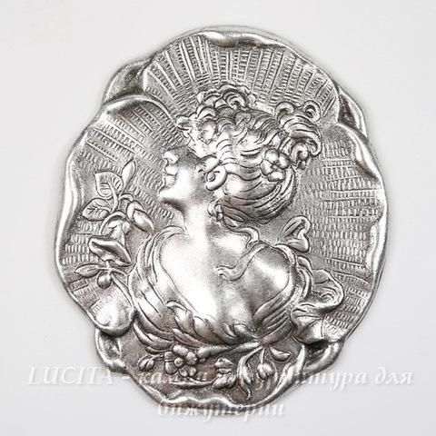 "Винтажный декоративный элемент - штамп ""Дама"" 40х35 мм (оксид серебра)"