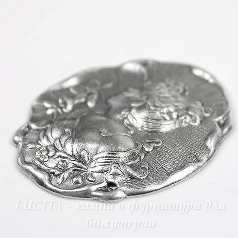 "Винтажный декоративный элемент - штамп ""Дама"" 41х35 мм (оксид серебра)"