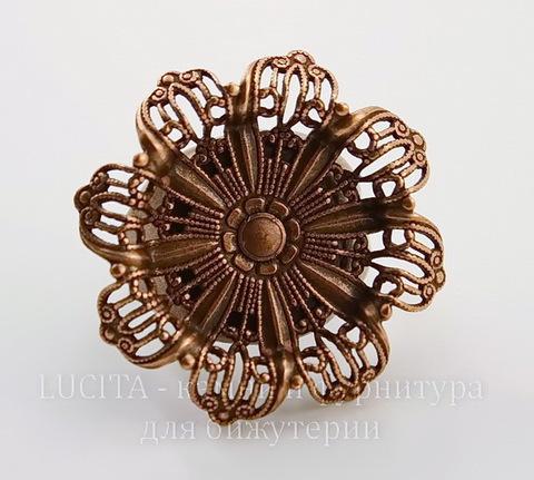 """Винтажная основа для кольца """"Цветок"""" с сеттингом 19 мм (оксид меди)"""