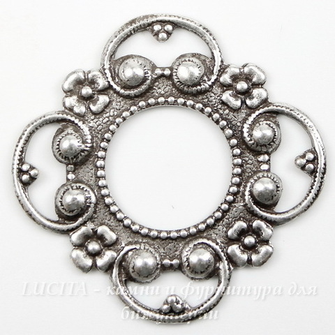 Винтажный декоративный элемент - рамка 28х28 мм (оксид серебра)