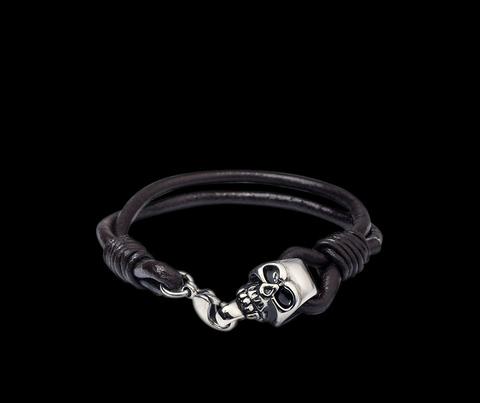 Мужской браслет из кожаного шнура с замочком Steelman mn0431