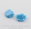 """Кабошон акриловый """"Дикая роза"""", цвет - голубой, 12х10 мм, 5 штук"""