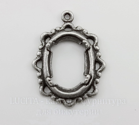 """Сеттинг - основа - подвеска """"Ажурный"""" для камеи или кабошона 14х10 мм (оксид серебра)"""