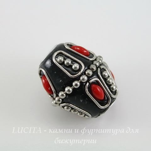 """Бусина """"Индонезийская"""" ручной работы черная с красным, 24х19 мм"""