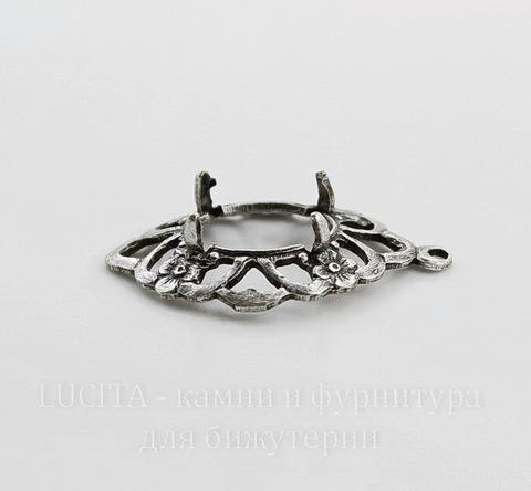 """Сеттинг - основа - подвеска """"Цветочки"""" для камеи или кабошона 10х8 мм (оксид серебра)"""