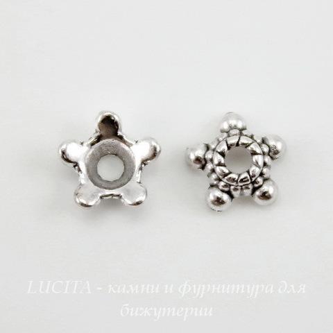 """Шапочка для бусины """"Звездочка"""" 5,5х2 мм (цвет - античное серебро), 10 штук"""