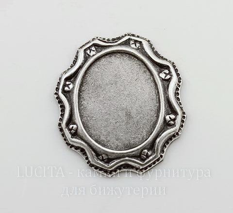 Сеттинг - основа для камеи или кабошона 13х10 мм (оксид серебра)