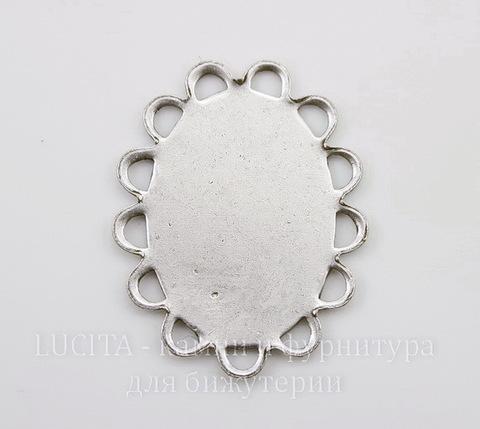 Сеттинг - основа для камеи или кабошона с ажурным краем 18х13 мм (оксид серебра)