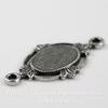 """Сеттинг - основа - коннектор (1-1) """"Листики"""" для камеи или кабошона 8х6 мм (оксид серебра)"""