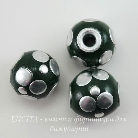 """Бусина """"Индонезийская"""" ручной работы темно-зеленая с серебром, 15 мм"""