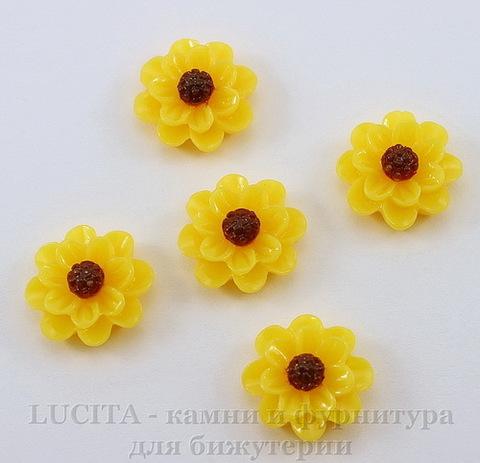 """Кабошон акриловый """"Цветочек"""", цвет - желтый, 13 мм, 5 штук"""