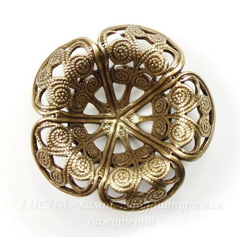 Винтажный декоративный элемент - шапочка 21х7 мм (оксид латуни)