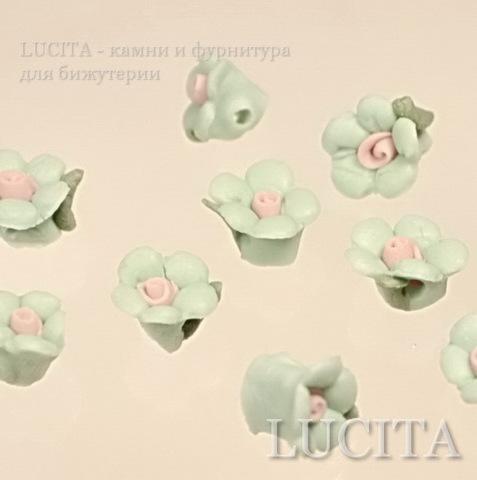 """Бусина фарфоровая ручной работы,""""Зеленый цветочек"""" 10х8 мм , 5 штук ()"""