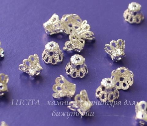 Шапочка для бусины филигранная маленькая (цвет - серебро) 6х5 мм, 20 штук