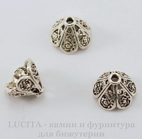 Шапочка для бусины (цвет - античное серебро) 11х8 мм, 10 штук ()