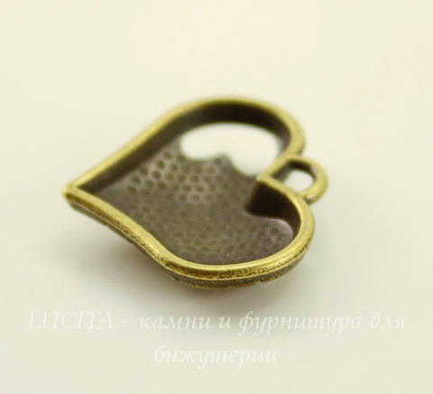 """Подвеска """"Каменное сердце"""" 18х17 мм (цвет - античная бронза)"""