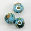 Бусина фарфоровая шарик, цвет - голубой с разноцветным рисунком, 10 мм