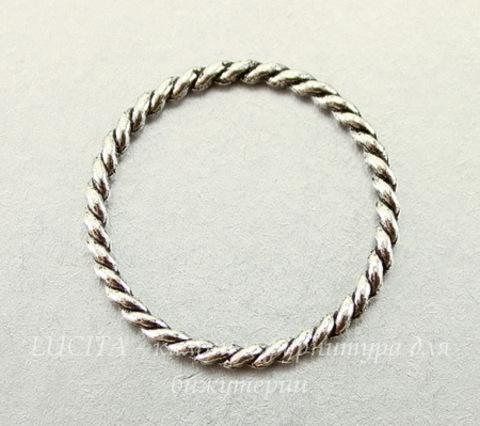 Коннектор - кольцо витое (цвет - античное серебро) 26 мм